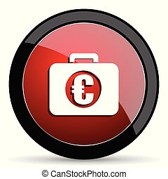 Financial vector icon. Modern design red and black glossy web and mobile applications button in eps 10