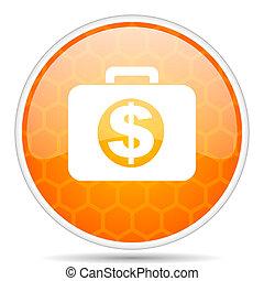 Financial web icon. Round orange glossy internet button for webdesign.