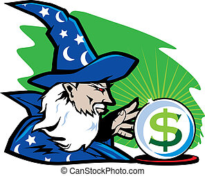 A wizard predicting financial income with a crystal ball