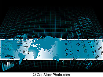 financial world - Black background with a financial theme...