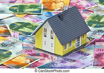 financiamento, um, lar, francos suíços