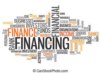 financiamiento, palabra, nube
