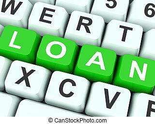 financiando, mostrar, teclas, empréstimo, ou, emprestando