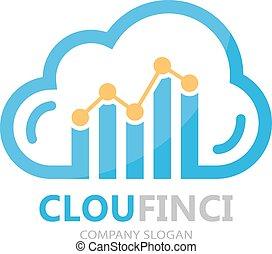 financieel, combinatie, grafiek, vector, logo, wolk