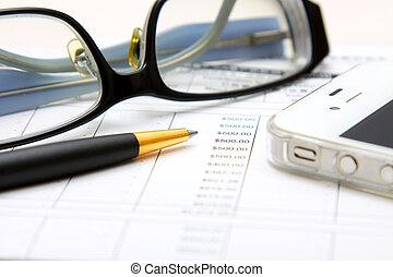 financieel, concept:, analyzing.