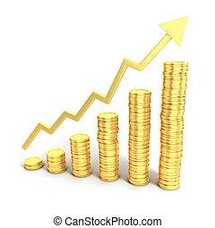 financieel concept, groei, 3d