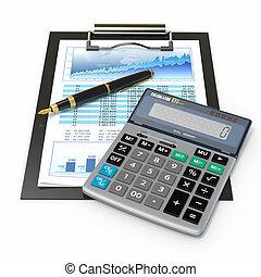 financieel, concept., tabel, pen., rekenmachine, liggen