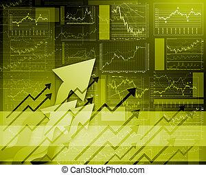 financieel, diagrammen, diagrammen, en, grafieken
