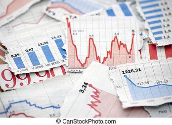 financieel, diagrammen, van, kranten