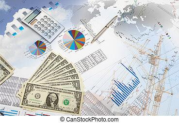 financieel, en, zakelijk, diagrammen, en, grafieken