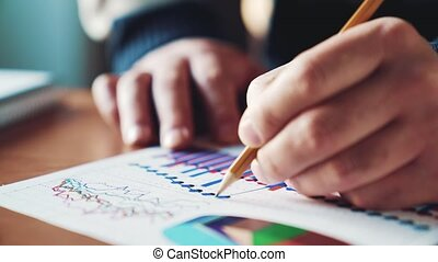 financieel, kantoor, controleren, diagrammen, workplace., rapport, zakenman