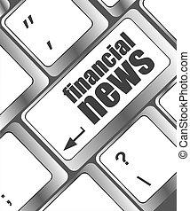financieel nieuws, knoop, op, computer toetsenbord