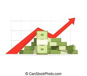 financieel, op, winst, geld, contant, begroting, richtingwijzer, opstand, grafiek, groei