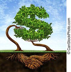 financieel, overeenkomst, groei