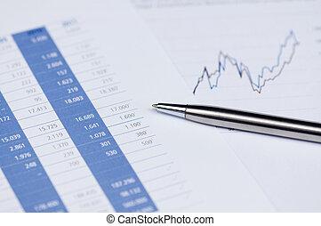 financieel planning, met, aandeel diagram, en, pen.