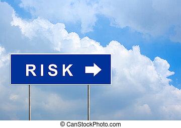 financieel risico, op, groene, wegaanduiding