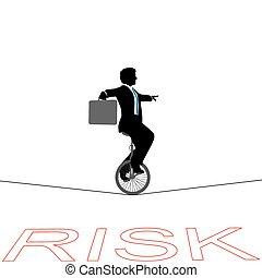 financieel risico, zakelijk, op, tightrope, unicycle, man