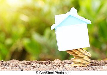 financieel, risk., muntjes, zijn, het vallen, en, huisen,...