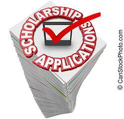 financieel, sta, steun, toepassingen, universiteit, schrijfwerk, studiebeurs