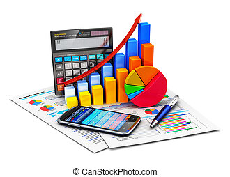 financieel, statistiek, en, boekhouding, concept