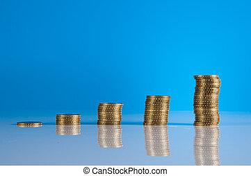 financieel, thema, met, zakelijk, farceren