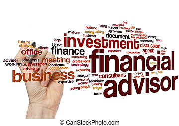 financieel, woord, wolk, adviseur