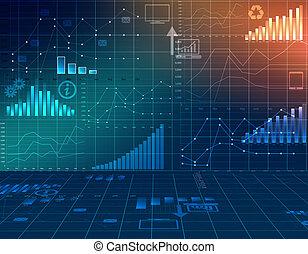financieel, zakelijk, abstract, computergrafiek, statistics.