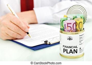 financieel, zakelijk, -, closeup, plan, vervaardiging, man