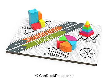 financieel, zakelijk, diagrammen, en, grafieken