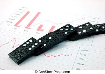 financieel, zakelijk, domino, tabel, op, riskant