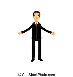 financier, échec, business, projection, caractère, illustration, vecteur, économique, poches, homme affaires, frustré, crise, vide
