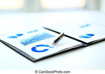 financier, affaires colorent, diagrammes, graphiques, table