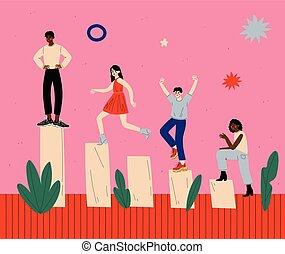 financier, aller, hommes, gens, levée, illustration, haut, diagramme, escalade, vecteur, reussite, groupe, femmes
