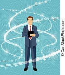 Financier and financial flows - Vector illustration of a...