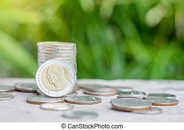 financier, argent, business, argent, monnaie, croissance, économie, retraite, bois, concept, planning., table