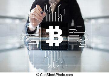 financier, argent, concept., bitcoin, numérique, cryptocurrency., technologie, commerce, marché