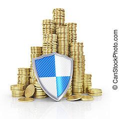financier, assurance commerciale, stabilité, aller, piles, concept: