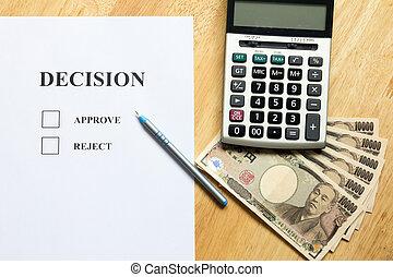 financier, billet banque, yen, papier, sommet, calculatrice, japonaise, graphique, diagramme, fond, décision, vue