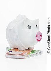 financier, billets banque., porcin, malade, crisis., banque, euro