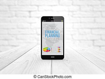 financier, bois, sur, téléphone, planification, table, intelligent