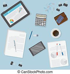 financier, bureau affaires, tablette, inclure, bureau, objects., smartphone, vue