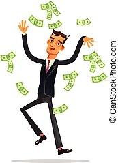 financier, bureau, argent, entrepreneur, position souriante, concept., gagnant, caractère, dessin animé, riche, heureux, plat, business, réussi, ouvrier, pluie, illustration, jeter, homme, fortune, reussite, air., vecteur, chance