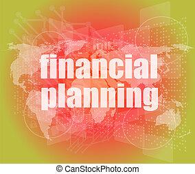 financier, business, écran, planification, mots, numérique, concept: