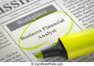 financier, business, analyst., embauche, 3d., maintenant
