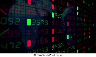 financier, business, argent, commercer, diagrammes, nombres, tickers, données, marché, stockage