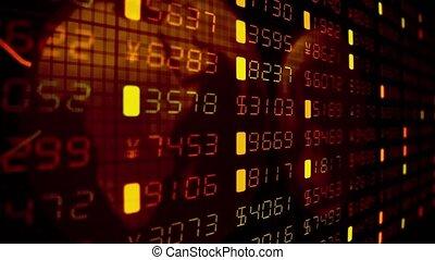 financier, business, argent, commercer, diagrammes, nombres, tickers, stockage, données, marché, 4k