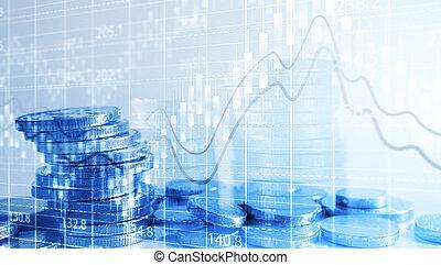 financier, business, argent, concept., pièces, graph., croissance