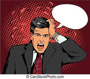 financier, business, panique, illustration, ou, retro, crise, vecteur, parole, pop, homme affaires, art, failure., bulle, style., homme