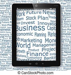 financier, business, pc tablette, mots, exposer