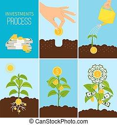 financier, business, processus, argent, concept., arbre, illustration, vecteur, croissance, investissements croissants